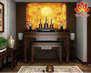Vách phòng thờ Đẹp tạo thêm sự trang trọng và thiêng liêng