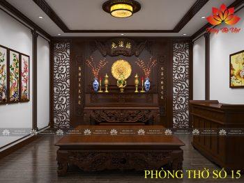 Vách phòng thờ điểm cộng cho không gian phòng thờ sang trọng
