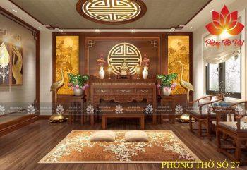 Mẫu thiết kế phòng thờ kết hợp phòng khách