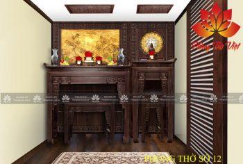 Nếu phòng khách không quá rộng, bàn thờ nên được thiết kế gọn gàng, đủ dùng