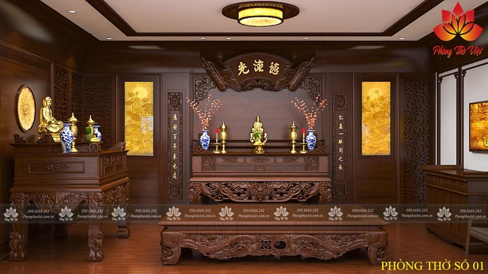 Không gian phòng thờ biệt thự
