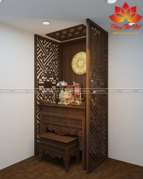 Mẫu vách phòng thờ được làm bằng gỗ tự nhiên